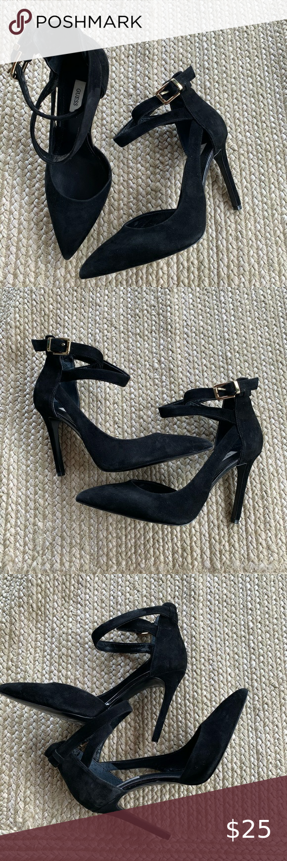 Guess black suede pointed toe pumps