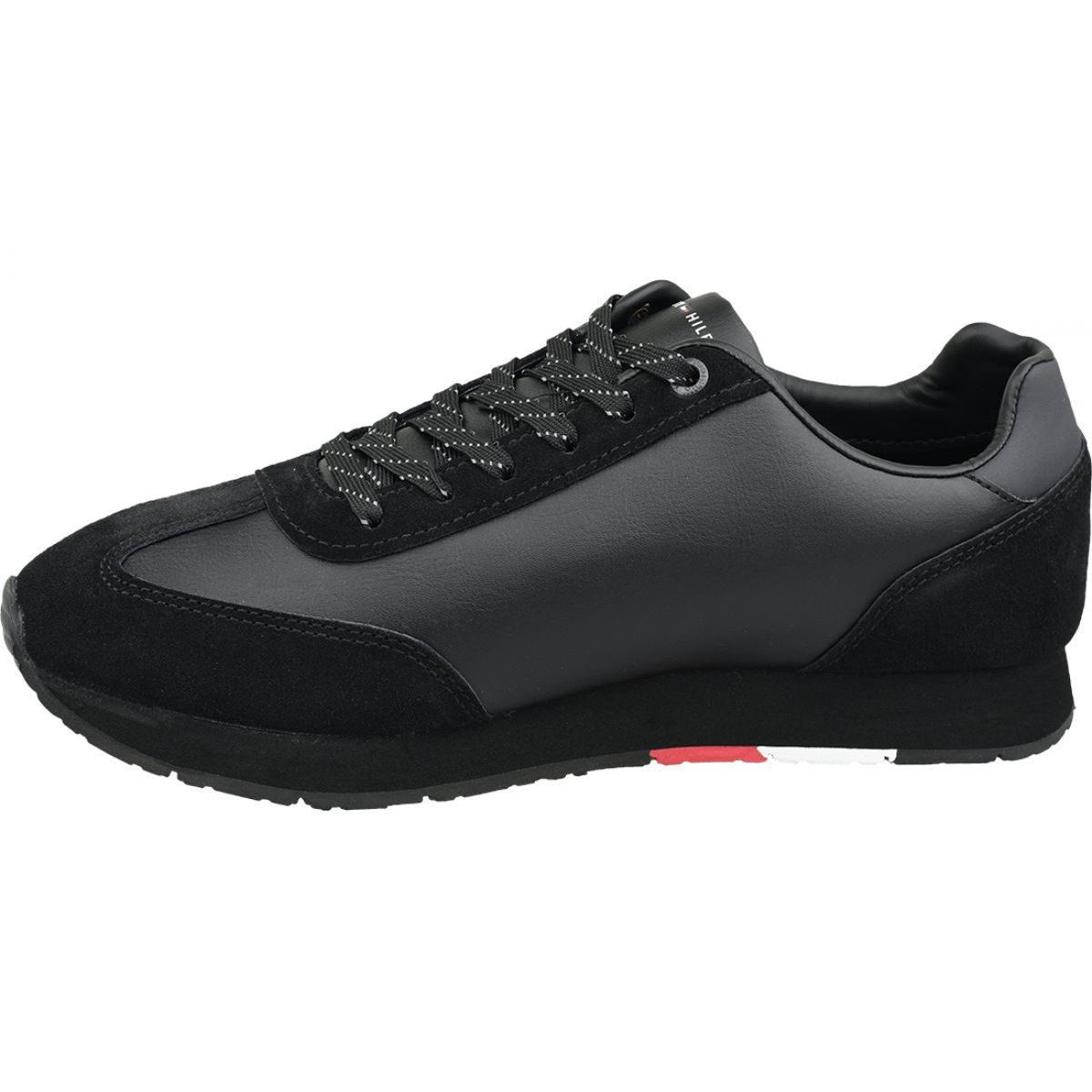 Buty Tommy Hilfiger Corporate Leather Flag Runner M Fm0fm02380 990 Czarne Tommy Hilfiger All Black Sneakers Leather