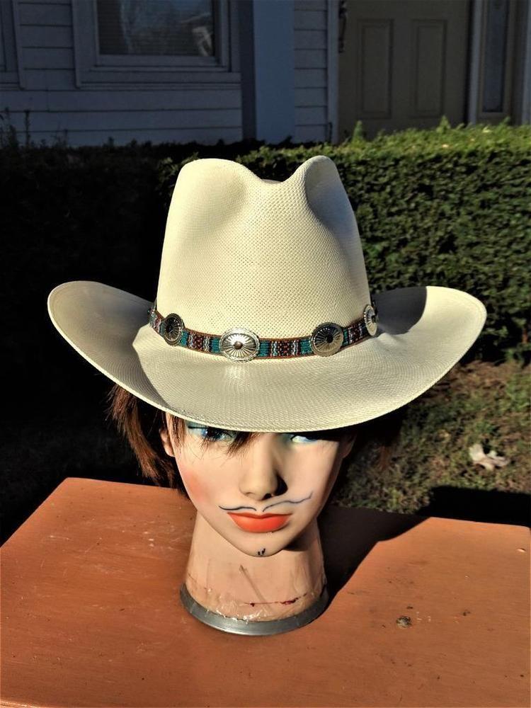 2f7327a302b14 Vintage Unisex Stetson Yucatan Natural Straw Cowboy Hat Size 7 ...