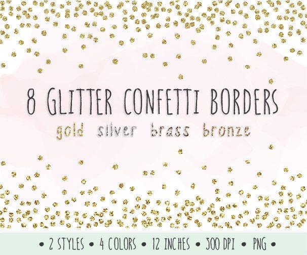 glitter confetti borders clip art gold glitter borders and frames mettalic confetti scrapbooking gold