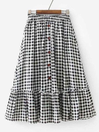 Shop Ruffle Hem Gingham Skirt online. SheIn offers Ruffle Hem Gingham Skirt & mo... - #gingham #Hem #offers #Online #Ruffle #SHEIN #shop #skirt