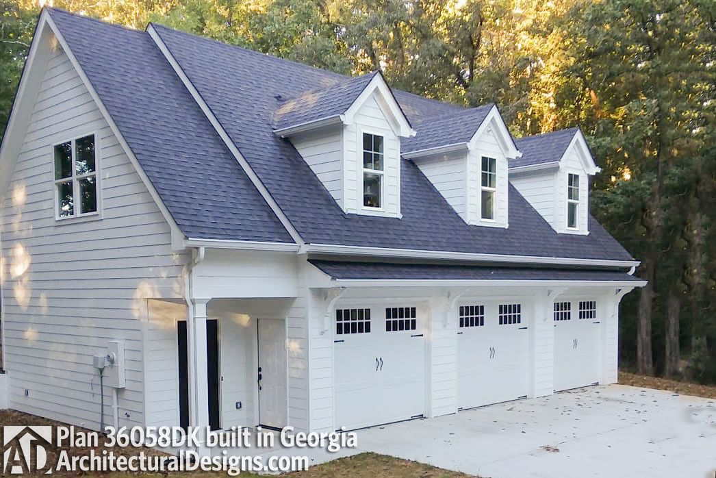 Car Carriage House Plan With 3 Dormers, Carriage House Plans With 3 Car Garage