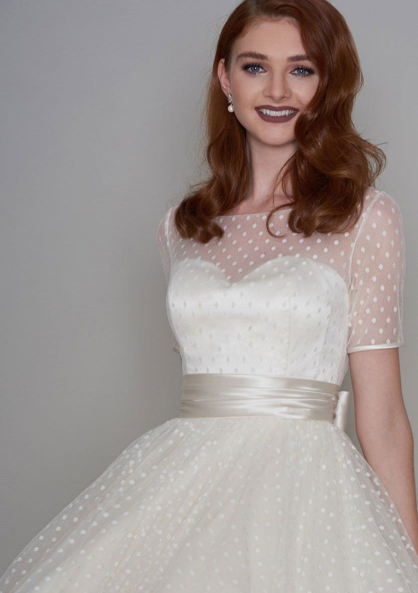 Vintage wedding dresses with sleeves  nellie Classic Fifties style tea length wedding dress  us