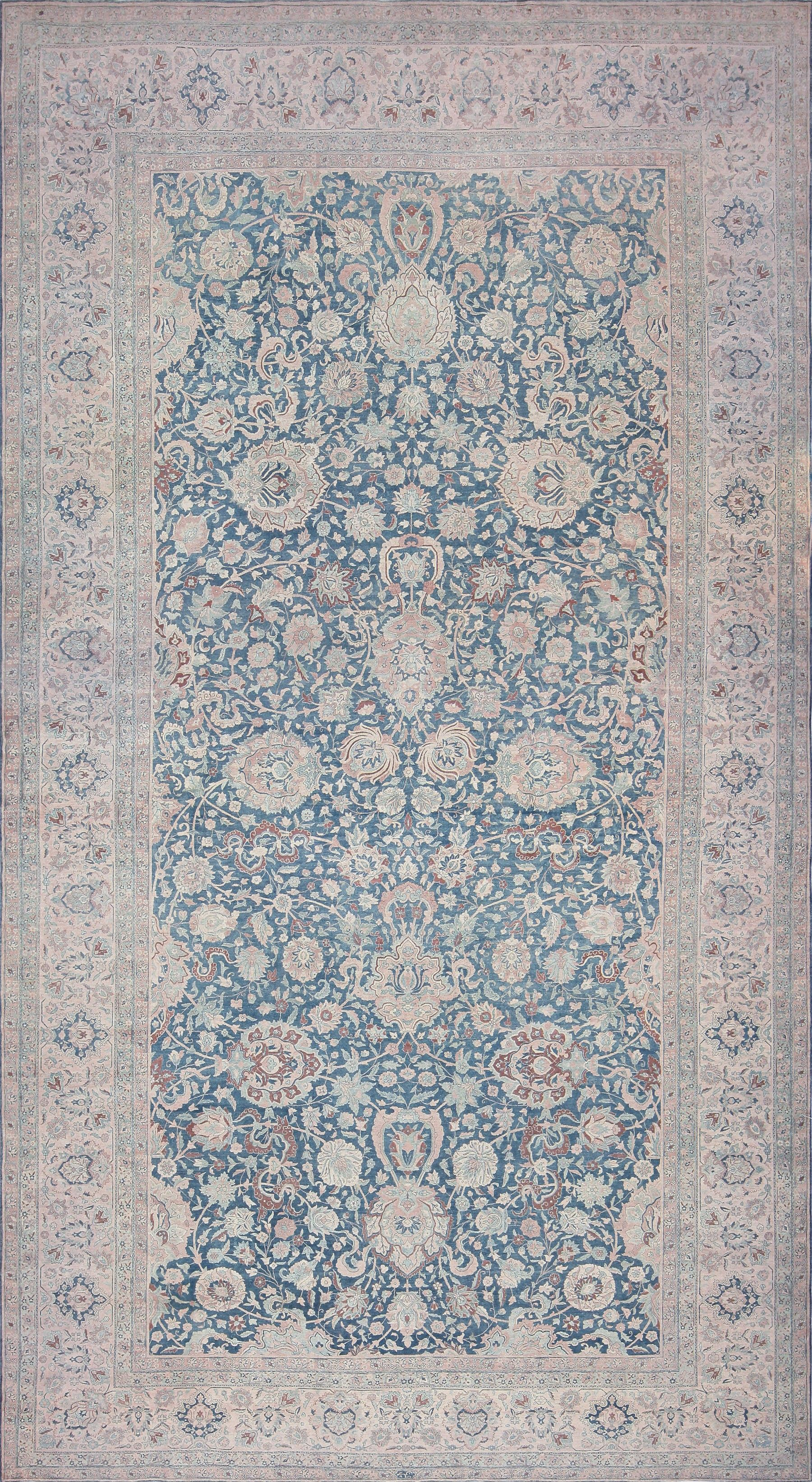 Large Oversized Blue Oriental Antique Persian Kerman