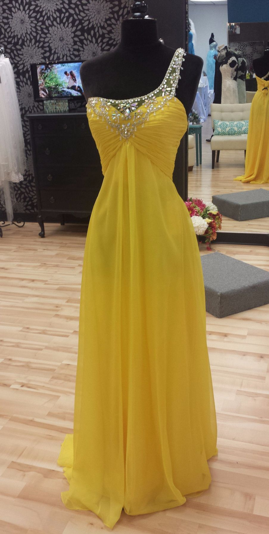 Yellow one shoulder prom dress prom shoulder and gowns