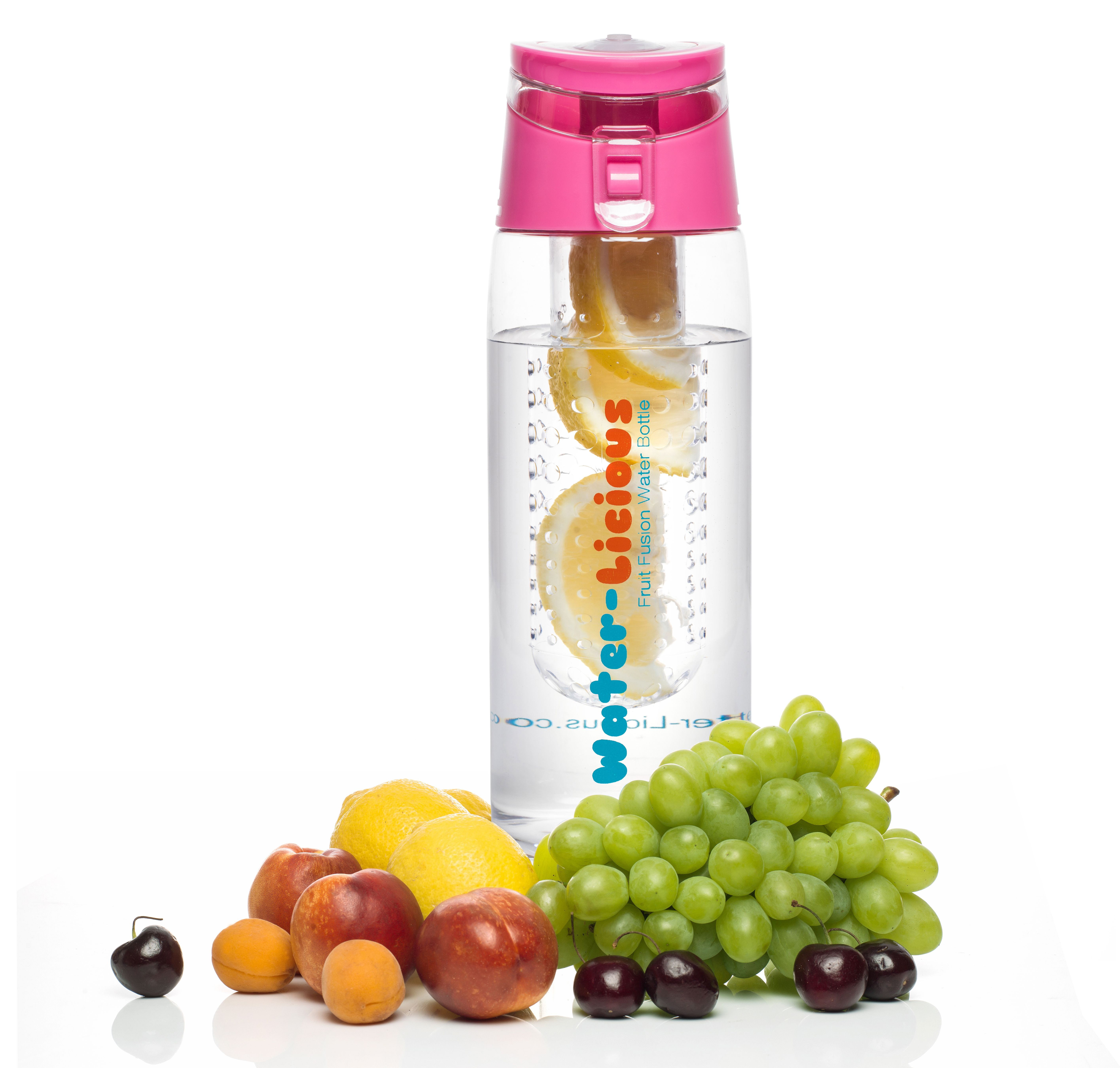 8ba88a5191 Water-Licious 24 Oz Fruit Infused Water Bottle made from BPA Free Tritan  Copolyester with flip top lid and easy carrying handle.
