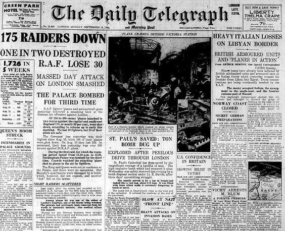 15 September 1940 Worldwartwo Filminspector Com Daily Telegraph