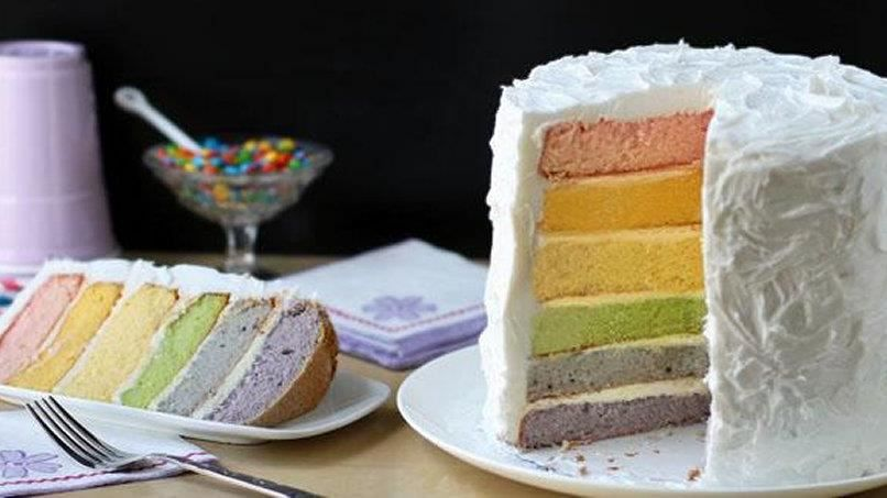 Natural dyes from fruits and vegetables are used to create a rainbow of fuchsia, orange yellow, green, blue and purple cake layers! Note: The prep time will vary depending on how you juice the produce.