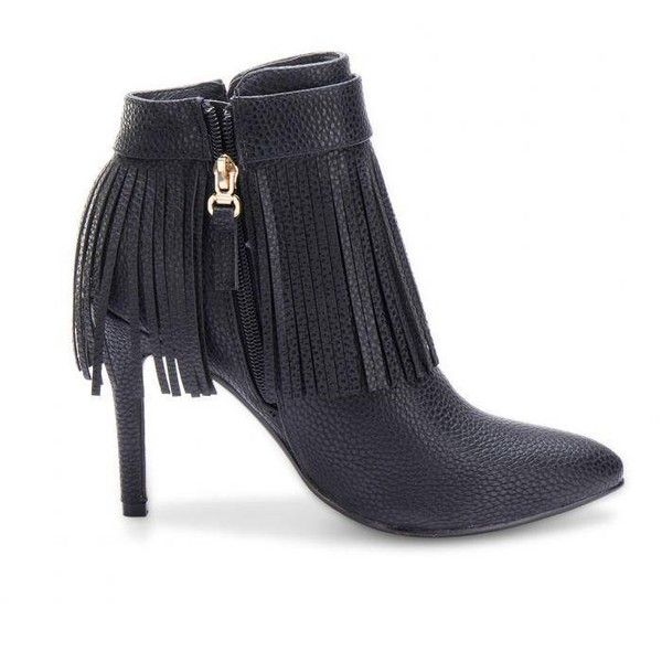 Yoins Black Fringed Pointed Heeled Ankle Boots (195 BRL) ❤ liked on Polyvore featuring shoes, boots, ankle booties, black, fringe booties, black booties, black bootie, short black boots and short boots