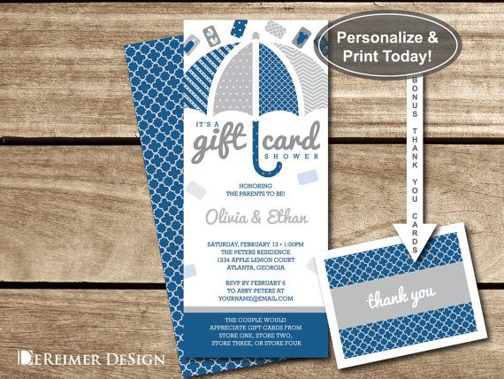 248b9597c0e5 Gift Card Shower Invitation in Navy Blue and Gray +Thank You Cards by  DeReimer DeSign for only  8.95