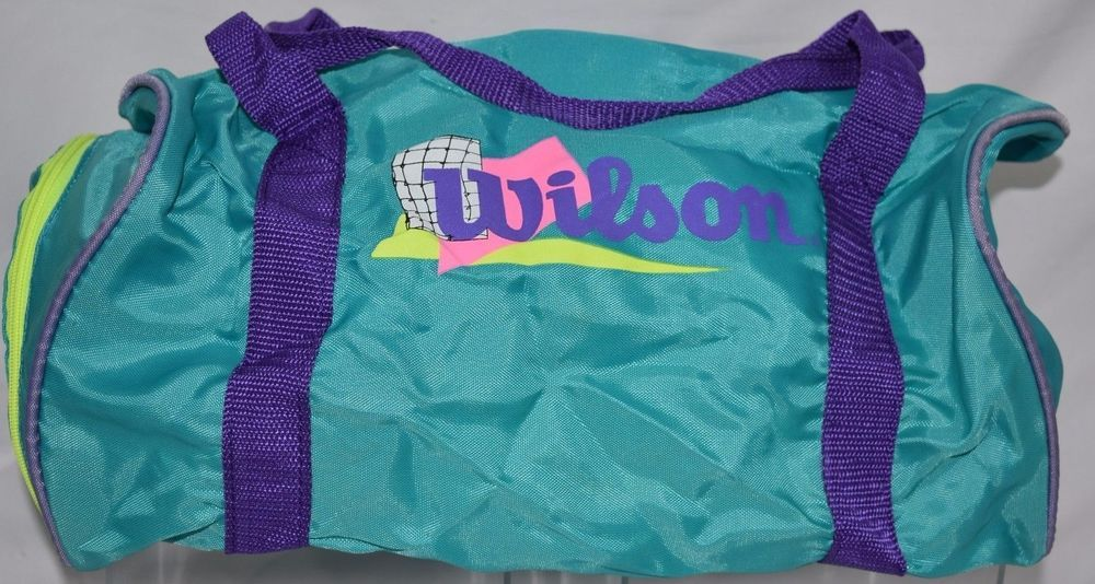 9760ba378b6d  Vintage  80s  90s Purple Teal Neon Retro Logo Colorful  Gym Bag Wilson  Duffle  Workout  SportsEquipment  Wilson