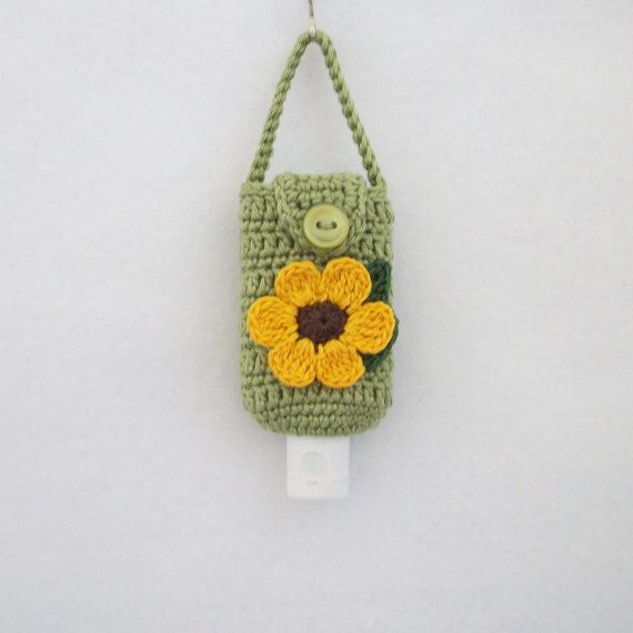 Crocheted Hand Sanitizer Holder Cozy In Green W By R0sedew On Etsy