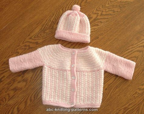ABC Knitting Patterns - Round Yoke Top Down Seamless Baby Cardigan ...