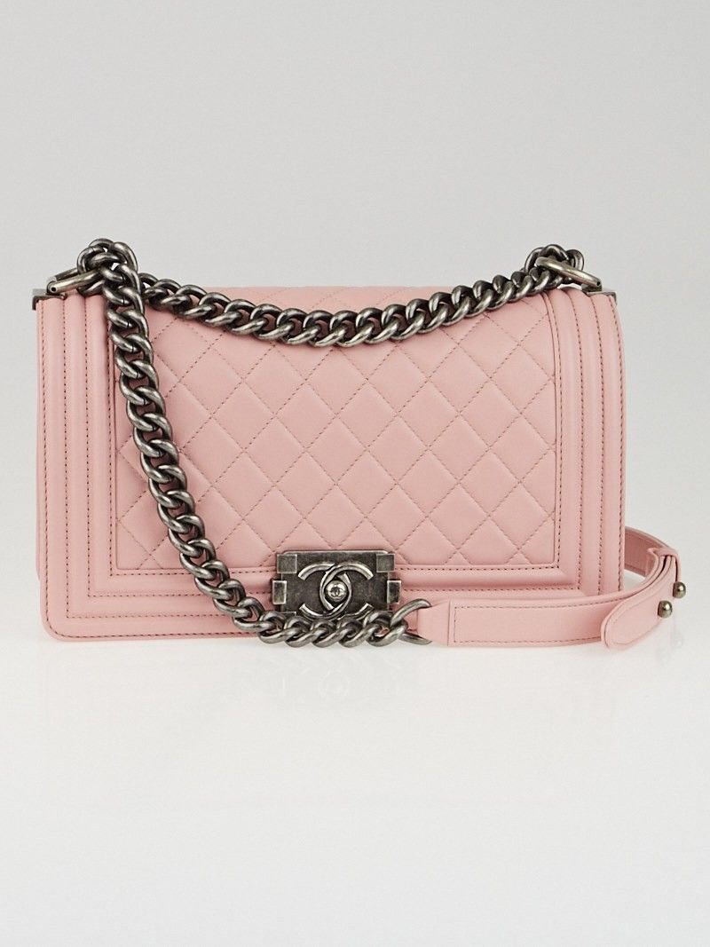 473d4cdc6589 Chanel Light Pink Quilted Lambskin Leather Medium Boy Flap Bag ...