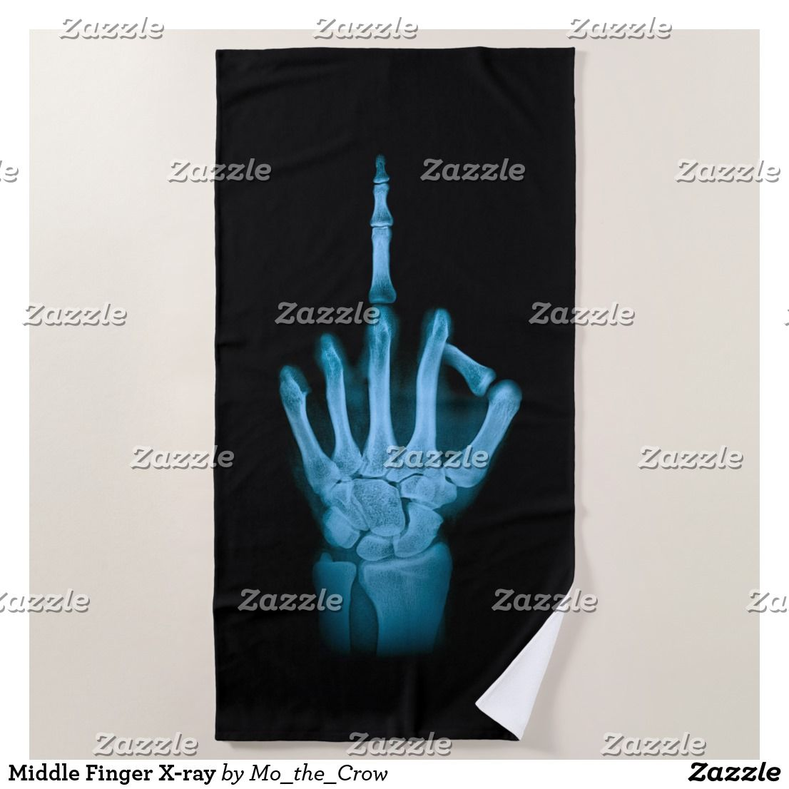 Middle Finger X Ray Beach Towel