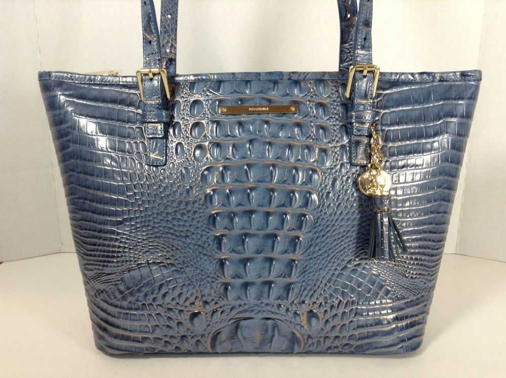 Brahmin Medium Asher Tote Shoulder Bag Satellite Blue Melbourne Leather