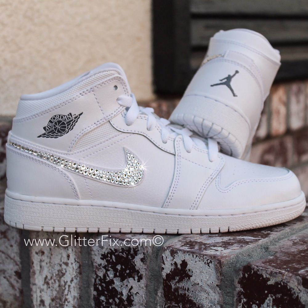 0b3816f0a7a2 Brand new customized pair of Nike Jordan s with Swarovski Rhinestones.  SHIPS IN 2-3 WEEKS- Crystals on outside Nike swoosh only- Due to the fact  every ...