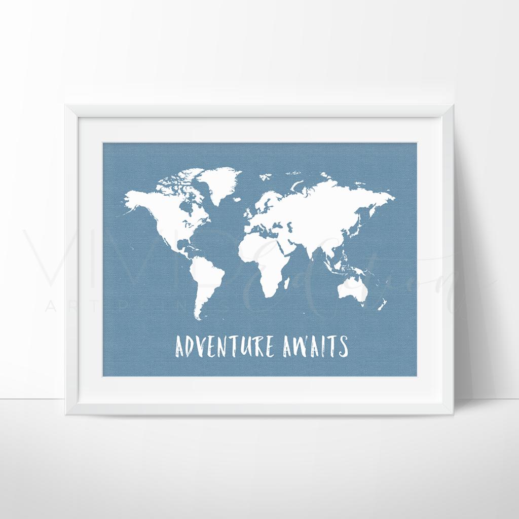 Adventure Awaits World Map, Blue Art Print - VIVIDEDITIONS