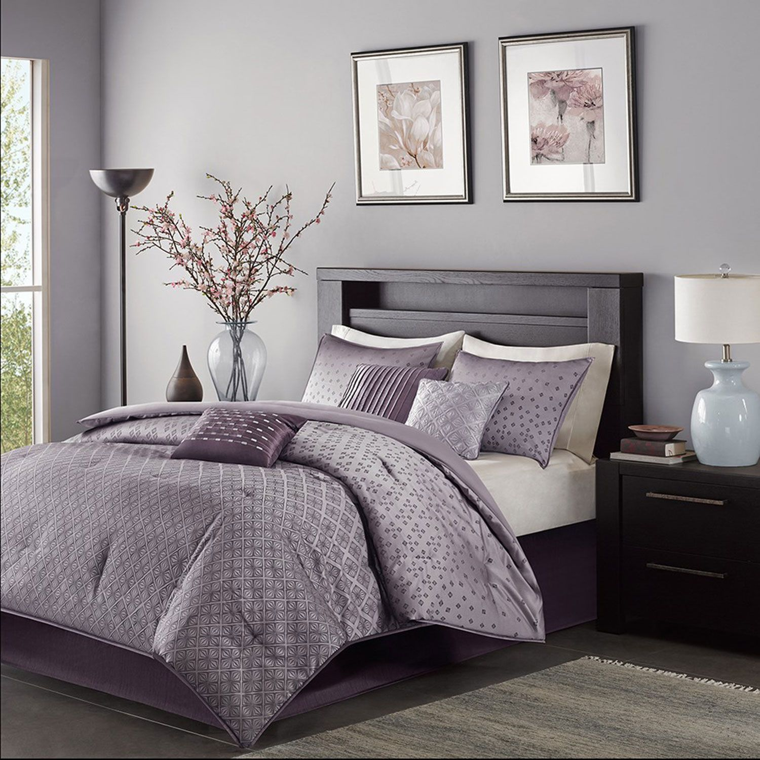 for king bed sets comforter of bedroom color size purple lovely