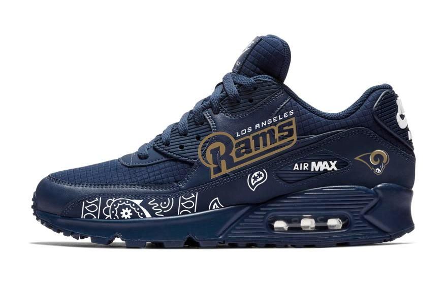 275890d0b747b7 Bandana Fever White Bandana LA Rams Print Custom Navy Nike Air Max Shoes   snf  gameday  nflfootball  fridayfeeling  sports  mnf  hockey   merrychristmas ...