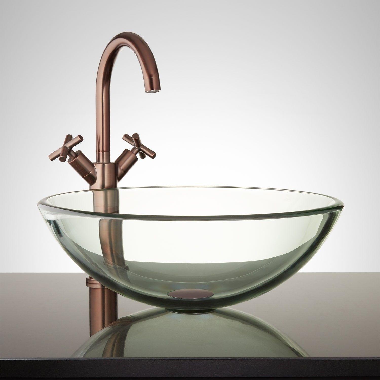 Clear Round Glass Vessel Sink Glassvesselbathroomsinks Bathroom