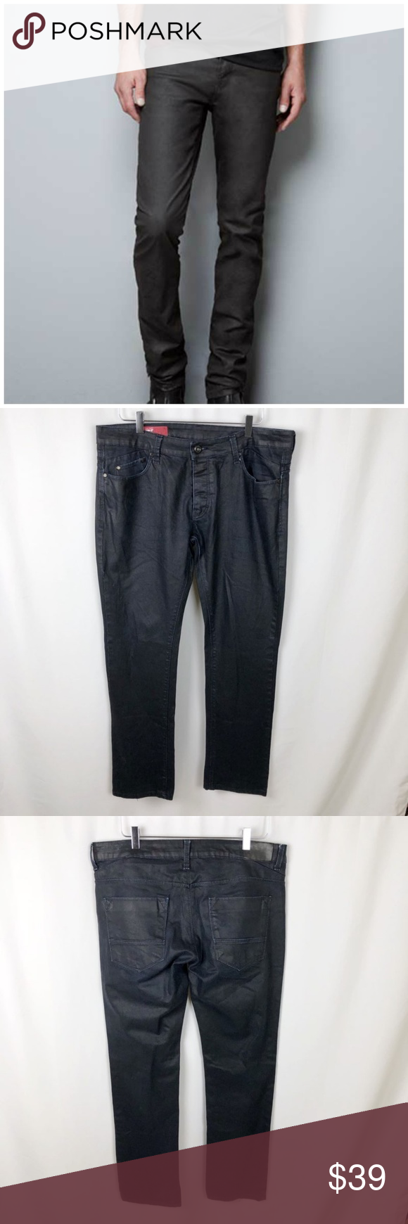 07c99d48 Zara Men's Black Waxed Jeans Zara Men's Black Waxed Jeans 36 Black with  waxed appearance A little fading 5 pocket, zipper, and button closure  Overall length ...