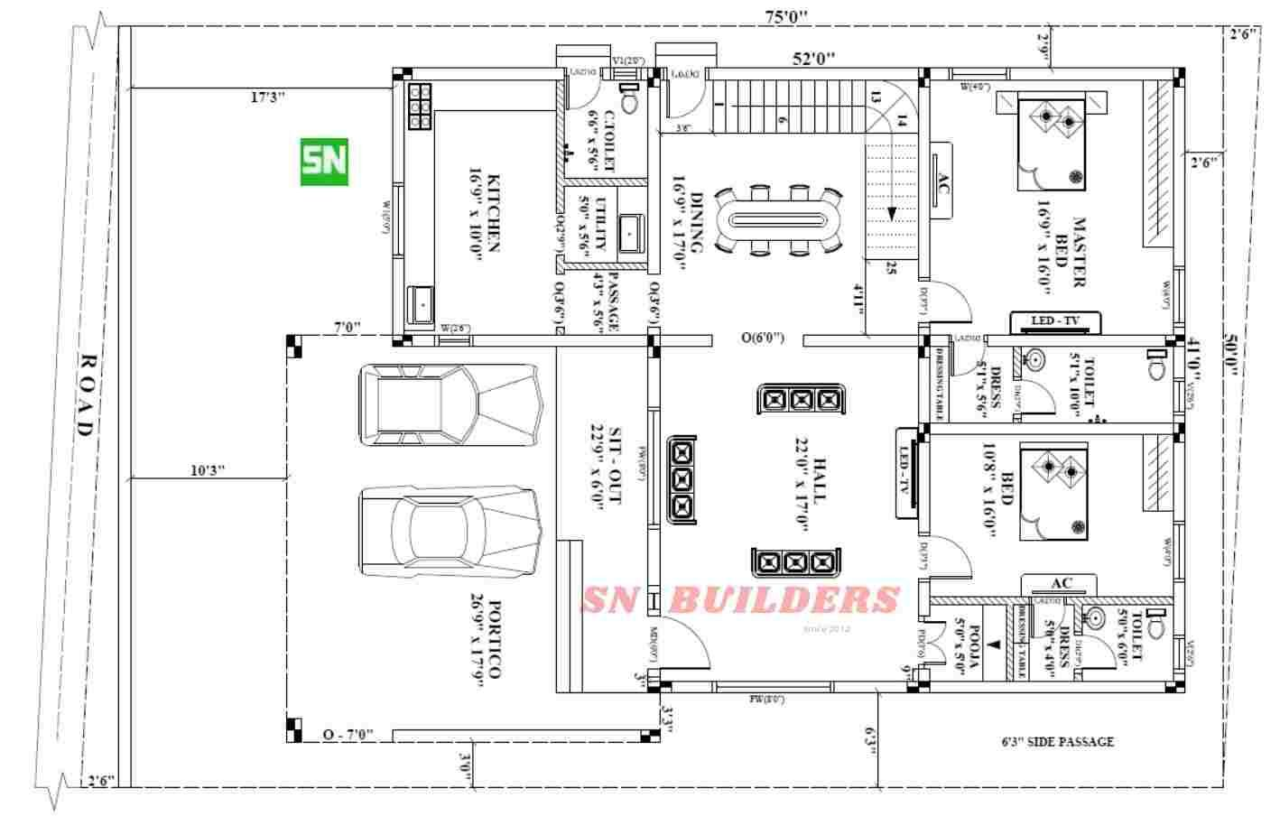 41 X 60 Ft East Facing House Plan For Four Bed Room House House Floor Plans North Facing House How To Plan