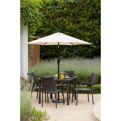 Bayfield Rattan Effect 4 Seater Garden Furniture Set - Brown