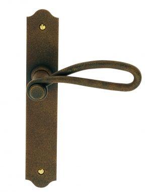 poigne de porte intrieure rustique en fer forg imitation rouille sur plaque cl l entraxe 195