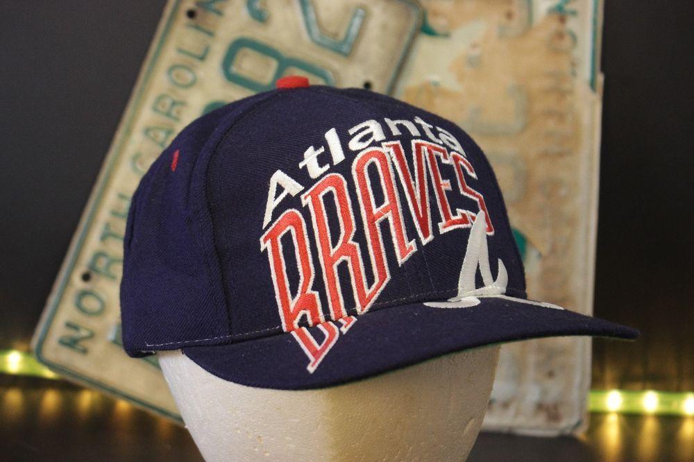 ab0fbaf4ec5 Vintage Atlanta Braves Snapback Hat Baseball Cap Large Logo Retro Navy Red   TheGame  BaseballCap