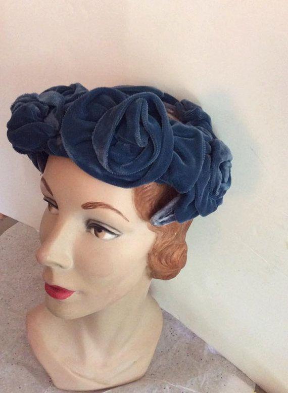 d984e4b3b79 Vintage 1950s 1960s Hat Blue Velvet Flower Shapes Sheer Netting On ...
