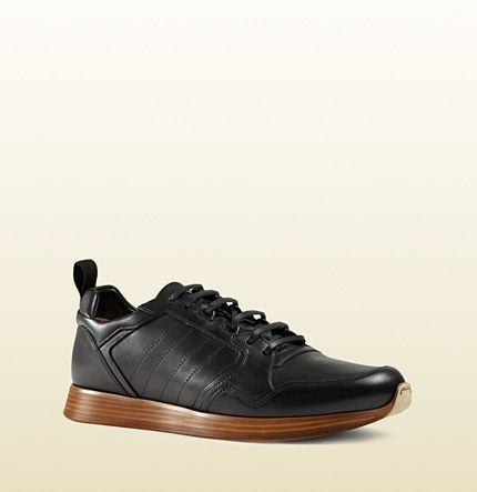 f54bb6715dba Gucci simple black leather lace-up sneaker  I like a bit of ...