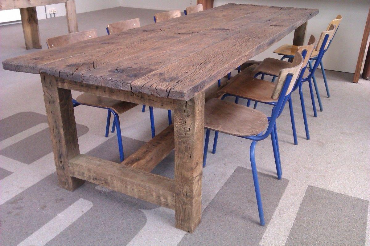 Tafel van oud eiken wagondelen esstisch pinterest tisch esstisch und esszimmertisch - Rustikaler schreibtisch ...