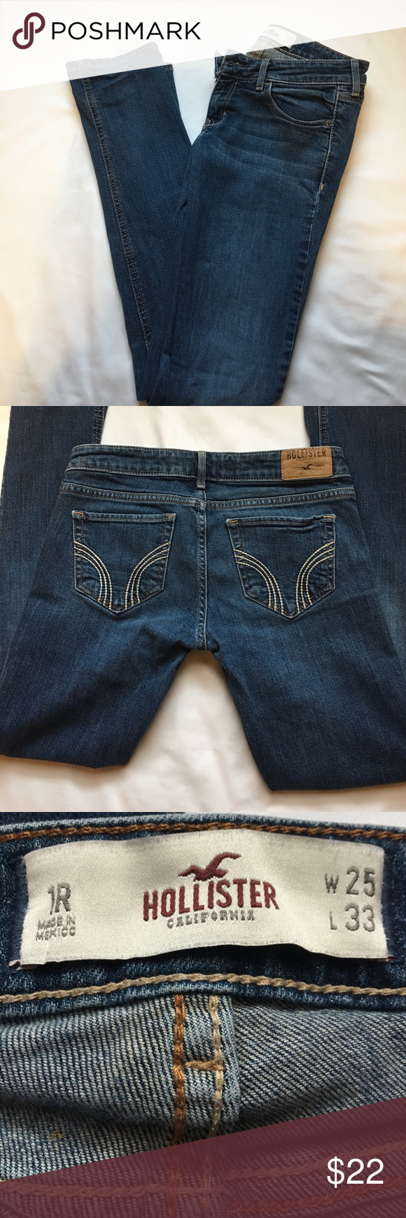 """Hollister Skinny Jeans👖 Hollister Skinny Jeans; W 25"""" L 33""""; Smoke free and Pet Free home; no damage to garment Hollister Jeans Skinny"""
