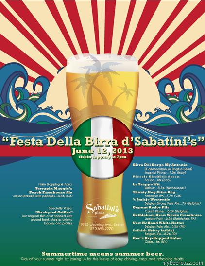 """Sabatini's - """"Festa Della Bira d'Sabatini's"""" 6/12 w/Terrapin Maggie's Peach Farmhouse Ale Firkin"""