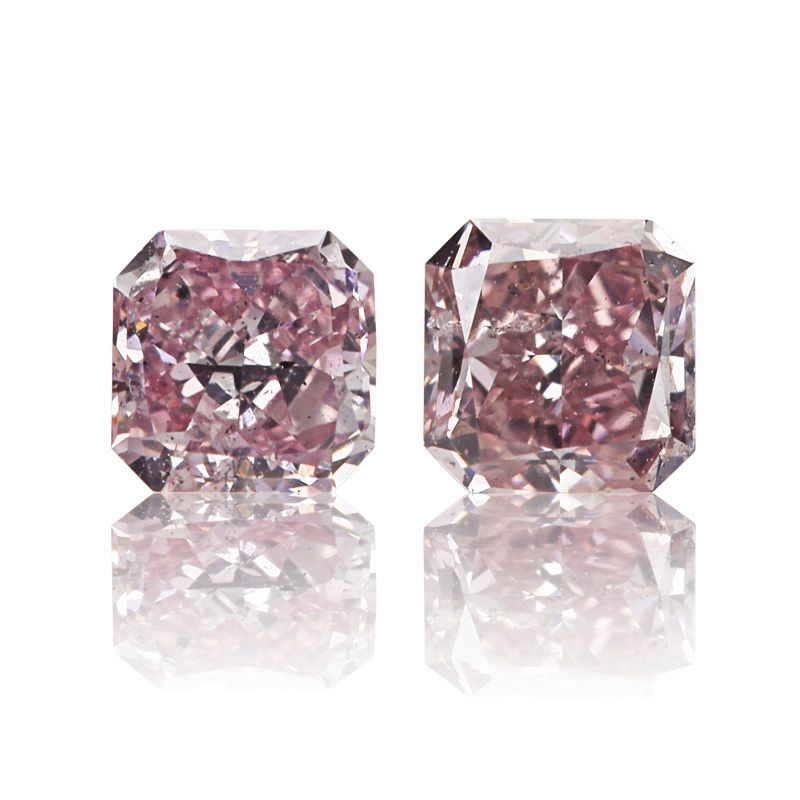 #pinkdiamond, #diamonds, #jewelery, #diamondjewelery, #intensecolor Two magnificent radiant shaped diamonds with great natural fancy purple pink color. The color saturation is so good they are actually border fancy intense. Perfectly matched, 0.21ct and 0.25ct and certified by our in house gemologist.(reports supplied upon request).
