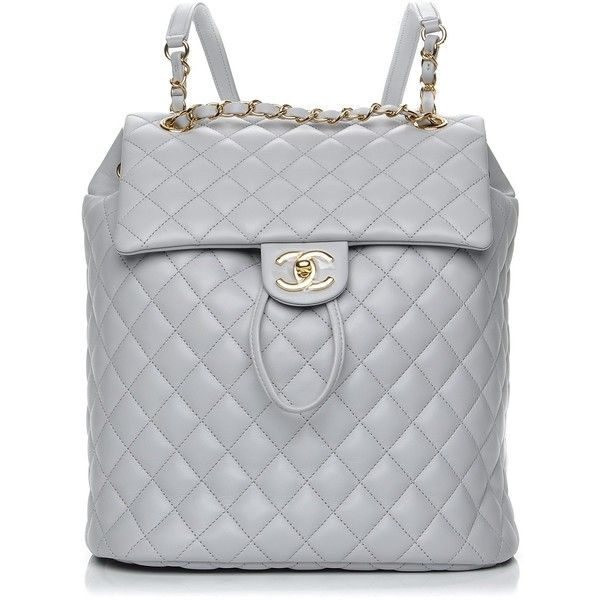 d4ab37f0e880 CHANEL Lambskin Quilted Large Urban Spirit Backpack Grey ❤ liked on  Polyvore featuring bags, backpacks, flap backpacks, urban backpack,  shoulder strap ...