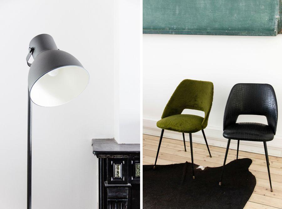 Bureau coin salon chaises vintage et lampe ikea objets objets