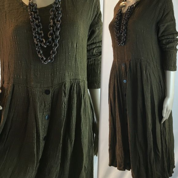 Las Manos brown boho flowing dress Loose fit dress made from 100% rayon (location11) Vintage Dresses Midi