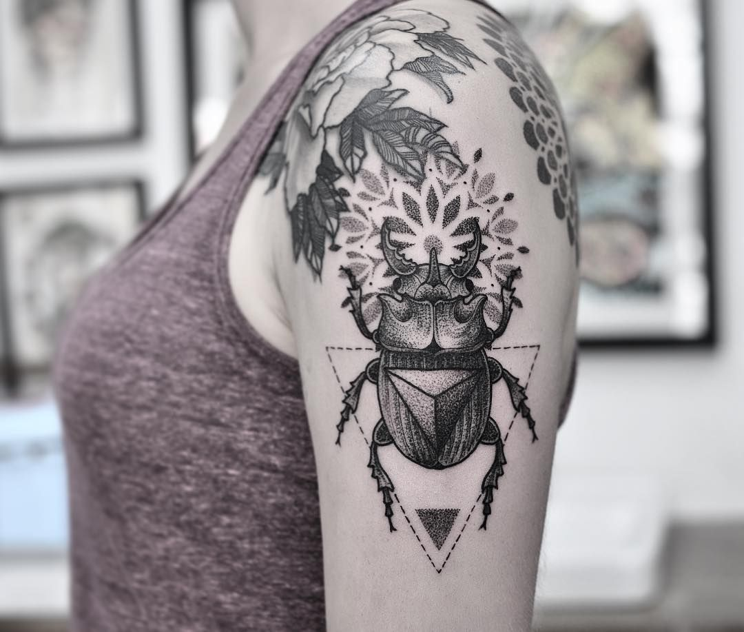 Pin By Vic Market Tattoo On Lachie Grenfell: Scarab Beetle Tattoo By Chris Jones, With A Touch Of A