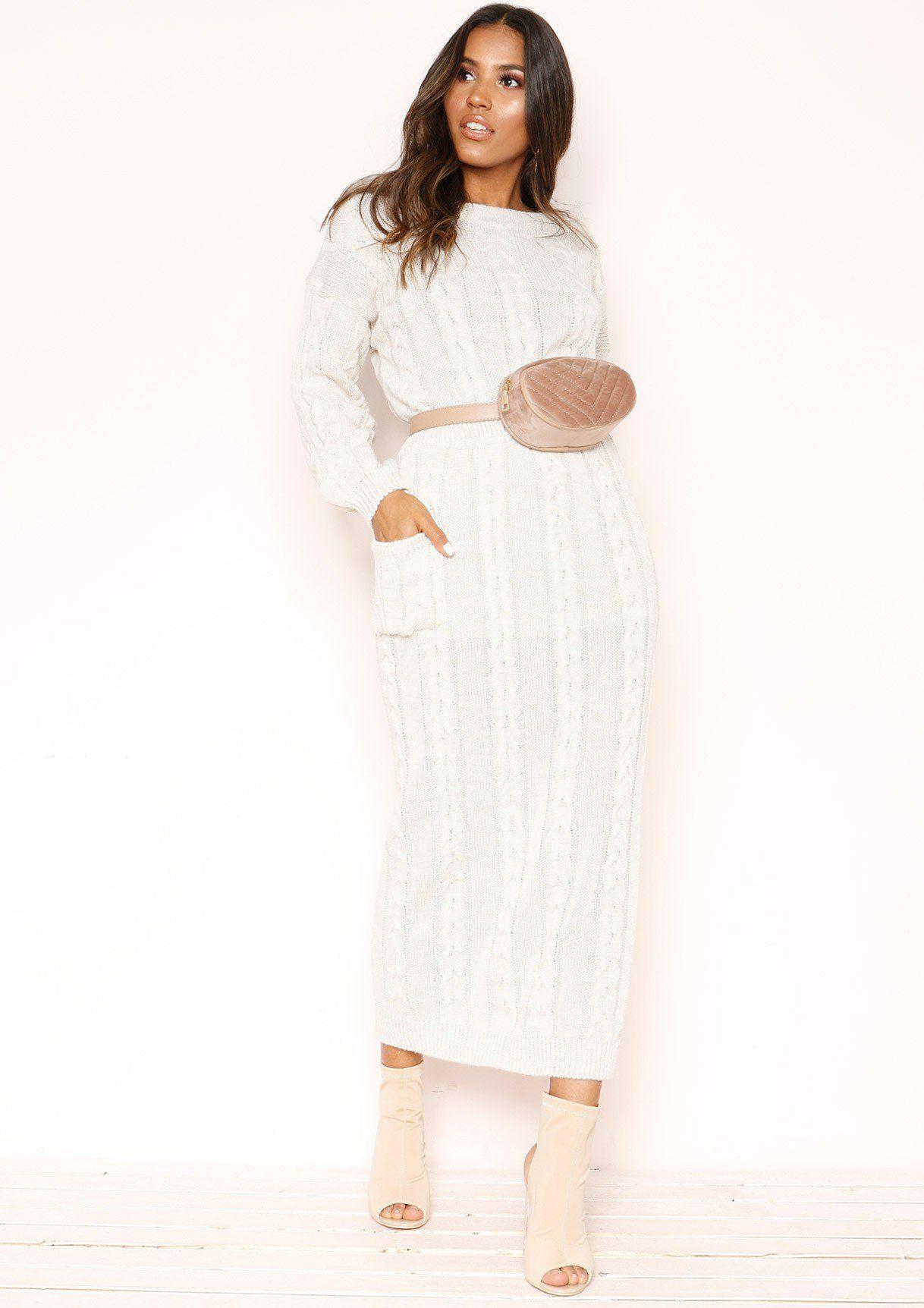 4cfa18374a Missyempire - Noara Beige Knit Midi Co-ord Set