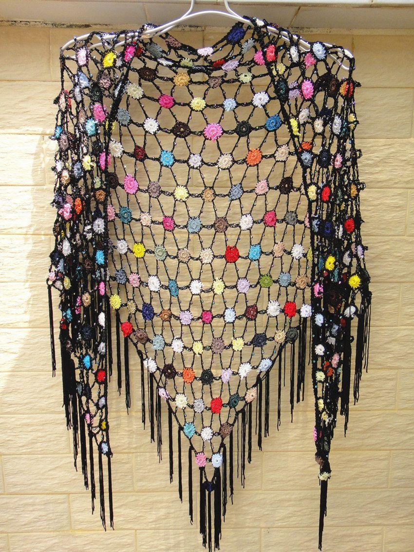Black Fringe Triangle Crochet Shawl Polka Dot Bright Bubbles | örgü ...