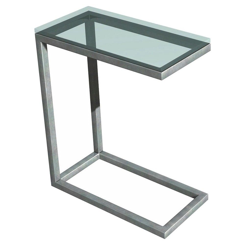 Tag Soho Snack Table Glass/Steel - Quest, Silver