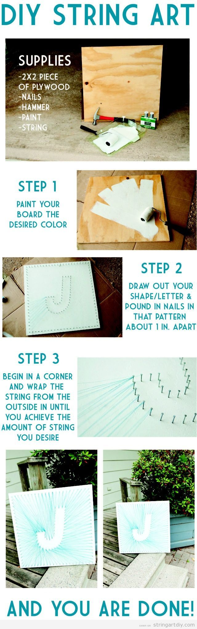 J letter String Art, step by step (tutorial)   String Art DIY   Free patterns and templates to make your own String Art #stringart