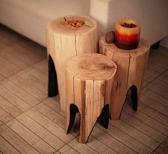 Reclaimed Wood Stump Coffee Table: Coffee Table, Log Furniture, Tree Stump Table, Side Table