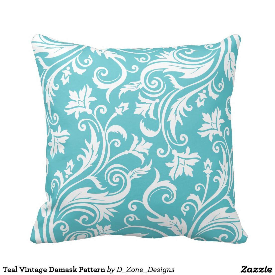 Teal vintage damask pattern throw pillow damasks teal and pillows