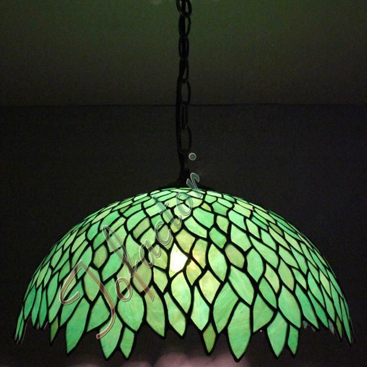Tiffany Vintage Green Leaves Pendant Lamp Cafes Chandelier Restaurant Bar  Stairs Retro Chandelier Leaves Shape Stained