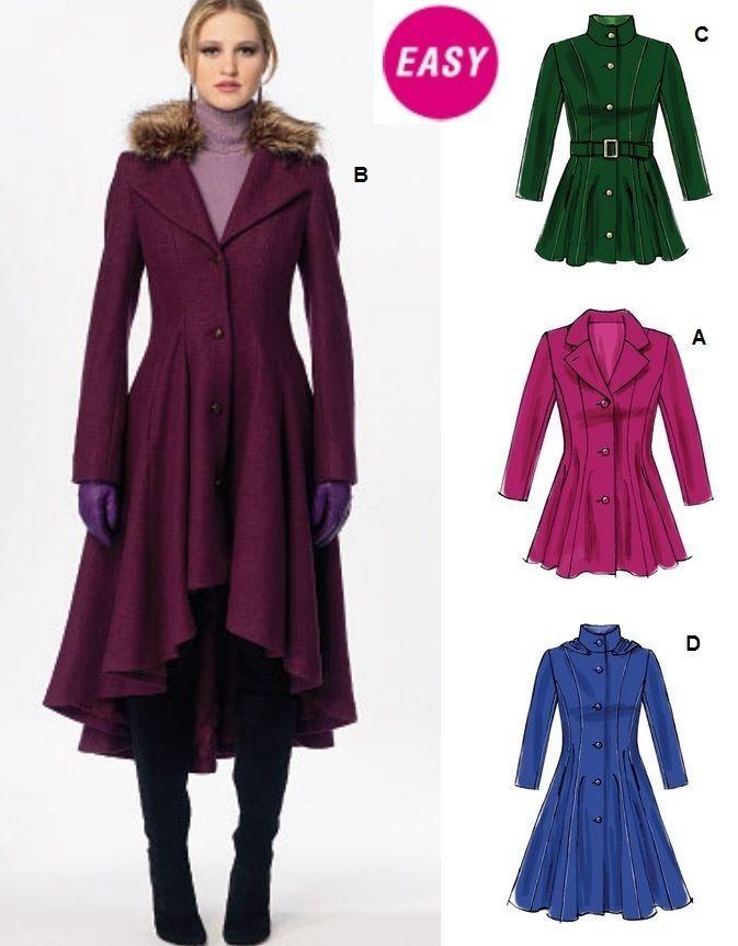 Winter Coat Pattern, Long Winter Coat Sewing Pattern