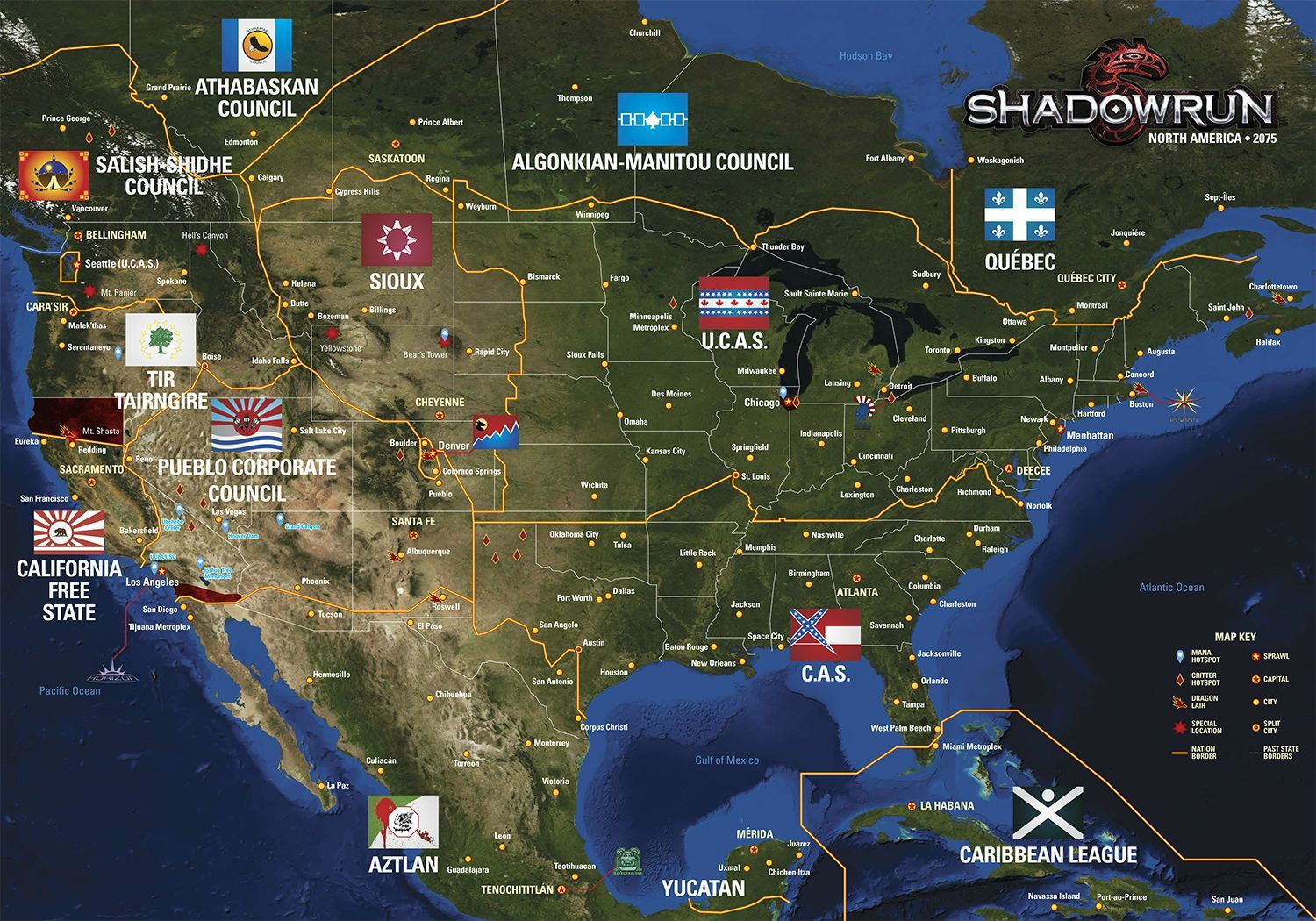 Shadowrun Map Of North America shadowrun North America nations map (With images)   Shadowrun