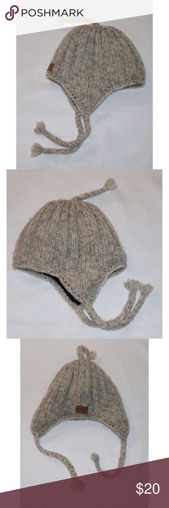 5250338efad Cyber Outerwear Beige 100% Wool Lined Beanie Hat Kyber Outerwear Beige 100% Wool  Fleece Lined Beanie Toque Hat In Very Good Pre Owned Condition